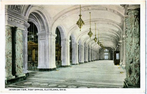 Photo Reprint Interior view, Post Office, Cleveland, Ohio. Vintage View Post Office