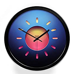 Wall Clocks Metal Personality Circular Home Bedroom Mute Clock Decorative Bells (Color : Black, Size : 14in)