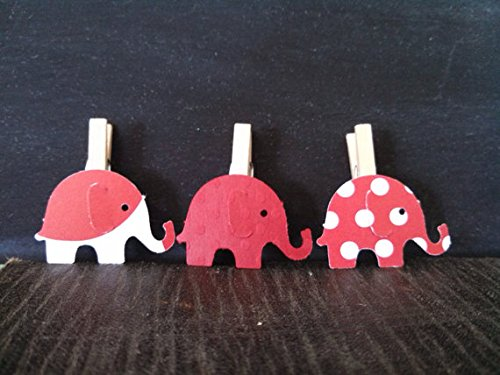 12 Red Elephant Mini Clothespins Baby Shower Decoration D...