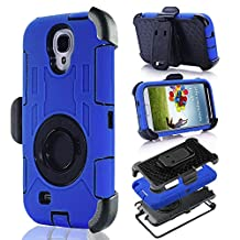 S4 Case, Galaxy S4, DLF Case Shock&drop-proof Amy-grade Protective Hard Defender with 360 Degree Rotating Ring Bracket Protective Case and Tpu Rubber & Silicone Case with Stand & Clip Three Layer Hard Shell Cover Holster for Samsung Galaxy S4 I9500 (Blue)