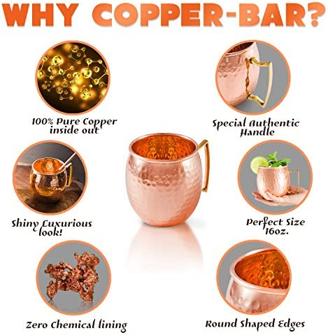 Moscow Mule Copper Mugs - Set of 2-100% HANDCRAFTED Pure Solid Copper Mugs - 16 Oz, Gift Set With Cocktail Copper Straws, Shot Glass, Stirrer & 2 E-Books by Copper-Bar