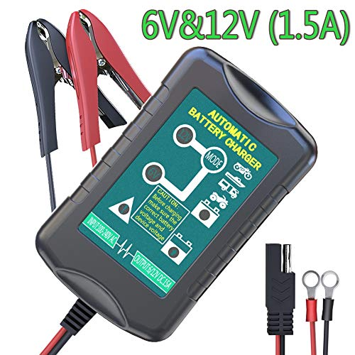 LST Trickle Battery Charger Automatic Maintainer 6V 12V Portable Smart Float for Auto Car Motorcycle Lawn Mower SLA ATV AGM GEL CELL Lead Acid ()