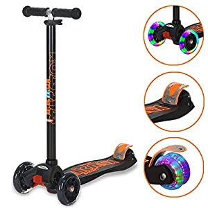 Banne Scooters for Kids 3 Wheel Adjustable Height Scooter with Flashing Wheels for Boys Girls 3-14 Year Old