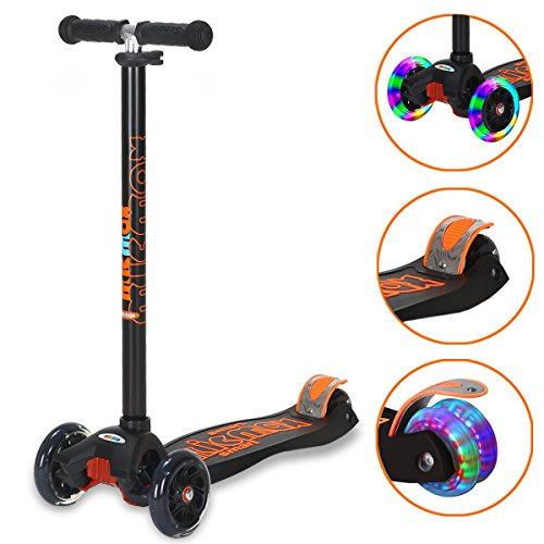 Three Scooter Wheeled Kids (Banne Scooter Height Adjustable Lean to Steer Flashing PU Wheels 3 Wheel Kick Scooters for Kids Boys Girls (Black))