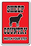 SHEEP COUNTRY Novelty Sign farm animals watch your step redneck parking gift