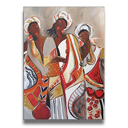 African Maiden Wall Decor - FirstB Modern Canvas Wall Art AFrican Maidens Framed Artwork Print Paintings For Wall And Home Decor (16 X 20 Inch)