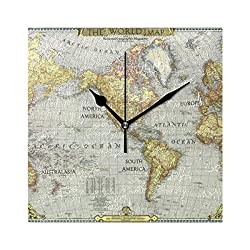 Romantic Angel Wall Clock Square World Map Battery Operated Silent Non Ticking Decorative Home Office School Decor Dual Use Art Clock