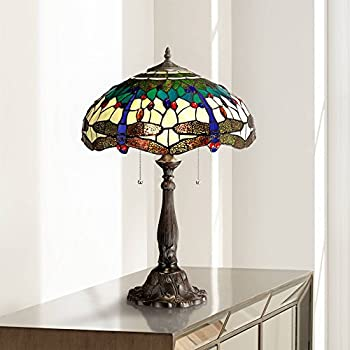 Traditional Table Lamp Bronze Tree Motif Dragonfly Art