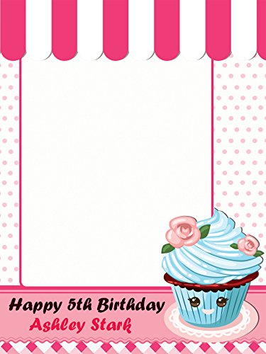 Customize Cupcake Shop Cake Wars Happy Birthday Photo Booth Prop - sizes 36x24, 48x36; Pesonalized Large Emoji Cup Cake Home Decorations, Handmade Party Supply Photo Booth (Handmade Halloween Decorations)
