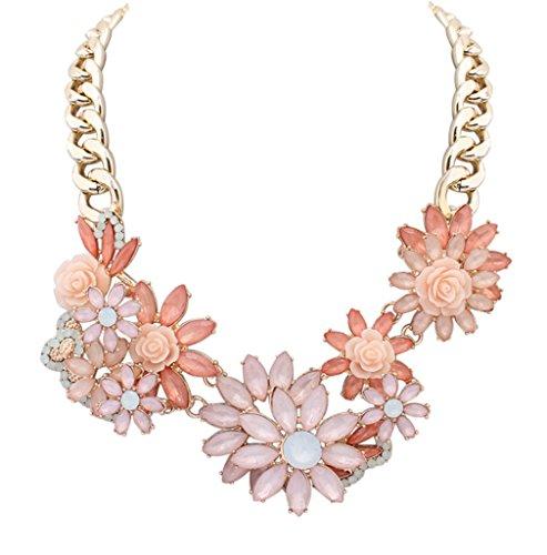 Flower Cluster Festoon Y-Necklace Bib Statement Necklace Floral Funky Gold Chain (Pink Jewel Neck Rhinestone)
