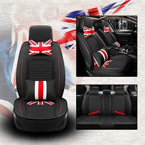 ZHM Car Seat Covers, British M Word Flag 3D All-Inclusive Car Seat Five-seat Universal Linen Four Seasons Cushion,B