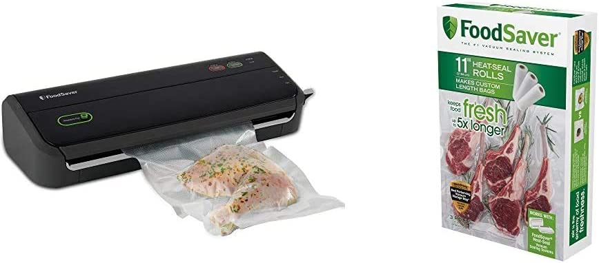 "FoodSaver FM2000 Vacuum Sealer Machine with Starter Bags & Rolls | Safety Certified | Black - FM2000-FFP & 11"" x 16' Vacuum Seal Roll | Make Custom-Sized BPA-Free Vacuum Sealer Bags | 3-Pack"