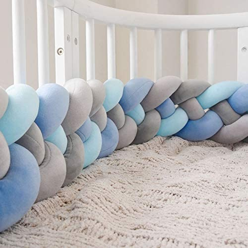 ベビーベッドベビーバンパー組紐枕ベビーヘッドガードバンパーノット編み込み枕クッション (色 : I, Size : 360cm)