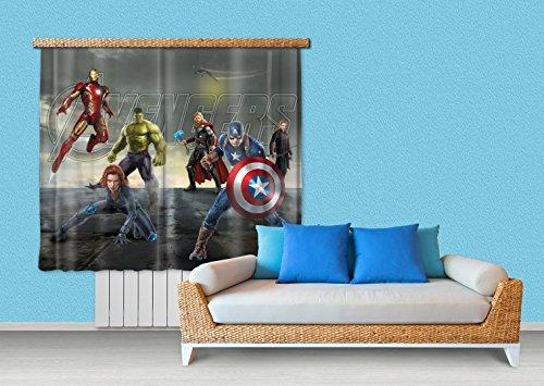 1art1 The Avengers Window Curtain - Captain America, Black Widow, Iron Man, Hulk And Thor (71 x 63 inches)