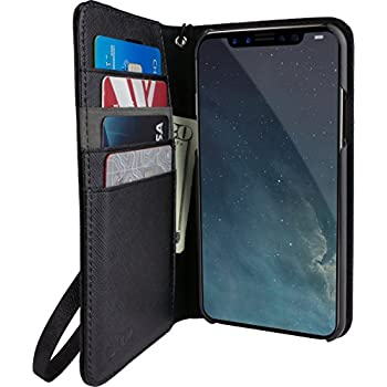 """Silk iPhone X Wallet Case - FOLIO WALLET Synthetic Leather Portfolio Flip Card Cover with Kickstand - """"Keeper of the Things"""" - Black Onyx"""