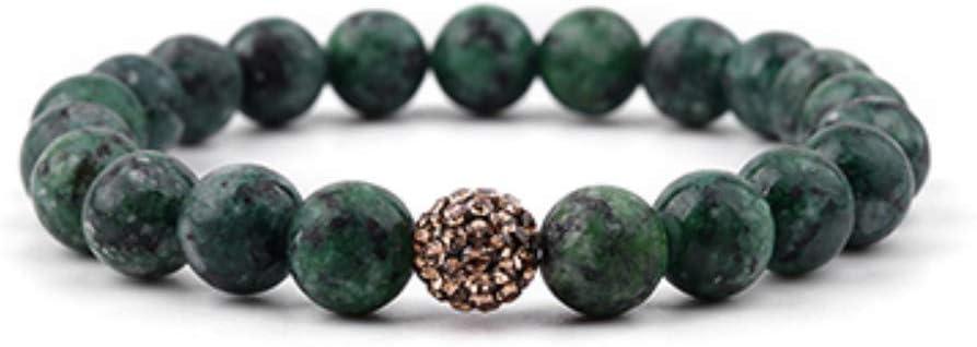 ZUXIANWANG Brazalete Pulsera Piedras ágatas Naturales para Mujeres 10mm Bola circón Rojo Azul Verde Morado Pulsera de Piedras de río Dama Regalo del Partido Verde Oscuro