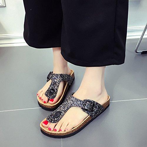 Sandales Compensées Plates Été Flops Tongs Plage Noir Talon Flip Chaussure Femme Vacances Mode Bohème Strass Frestepvie 4IUFxq