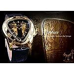 Winner Fashion Mechanical Wrist Watch Triangle Racing Dial Golden Skeleton Dial 8