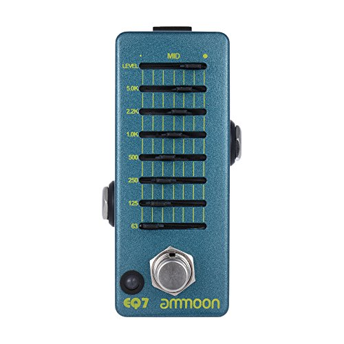 ammoon EQ7 Mini Guitar Equalizer Effect Pedal 7-Band EQ Aluminum Alloy Body True Bypass (Graphic Equalizer Guitar Pedal)