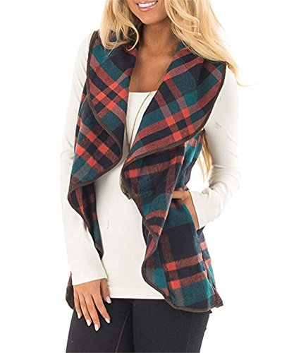 YIOIOIO Womens Plaid Vest Sleeveless Open Front Hem Cardigan Jackets (Cinched Waist Top)
