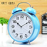 Metal Fashion Children Mute Luminous Table Desk Top Alarm Clock Bedroom Digital Simple Bedside Alarm Clock,8 Inches Blue Birthday Christmas Gift