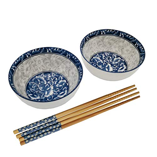 FINECASA Fine China 4.5 inch Bule Porcelain Rice Bowl and Chopsticks with Delicate Box Set of 2