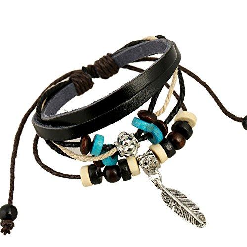 iEverest bijoux unisexe en cuir poignet bande Weave Bracelet Bracelet pour hommes/femmes, Vintage bohème perles multicouche en cuir et un bracelet en corde unisexe Fashion Cool multicouche manchette