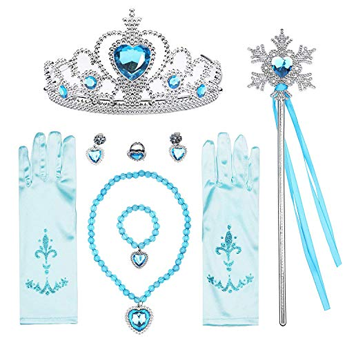T-Trees Princess Dress Up Accessories Gift Set for Elsa Cinderella Crown Scepter Necklace Bracelet Earrings Rings Gloves (7pcs) -