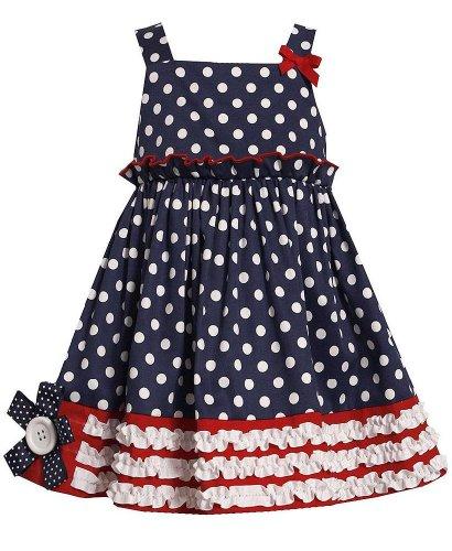 Bonnie Jean Girls 4-6x Navy White Polka Dot Flag Border 4th of July Dress, 5