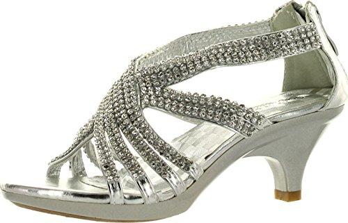 Angel 41K Little Girls Rhinestone Heel Platform Dress Sandals Silver 4