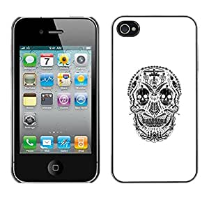 Eason Shop / Hard Slim Snap-On Case Cover Shell - White Black Skull Cross Christian Death - For Apple Iphone 4 / 4S