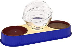 Dog Cat Pets Water and Food Bowls Set,Detachable Double Pet Automatic Feeders for Dogs/Cats or Small Pets Include Filter Cover Add Non-Slip Bottom (Blue)