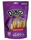 Dingo Twist Sticks with Peanut Butter, Rawhide Chew, 25-Count