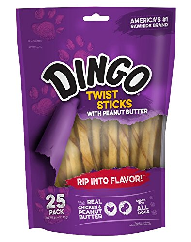 Dingo Twist Sticks with Peanut Butter, Rawhide Chew, 25-Count