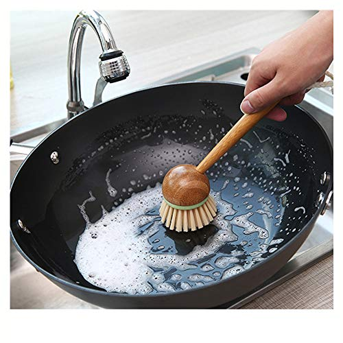 ♚Rendodon♚ Decontamination wash Pot Brush, Kitchen Cooking Cleaning Storage Tool Kitchen Non-Stick Skillet Brush Oil Dishwashing Cleaning Bowl Palm Brush (Coffee) - Jungle Wastebasket