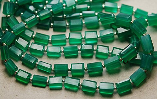 16 Inch Strand,GREEN ONYX Faceted Shape Nuggets,6.5-10mm size, SHRI NATH GEMS & JEWELLERY