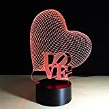 Optical Illusion 3D Lamp 7 Colour Changing Creative love ,LED Lights Make Beautiful Gifts for Mom and Amazing Desk Lamps for Dad, Multicolored USB Powered Light