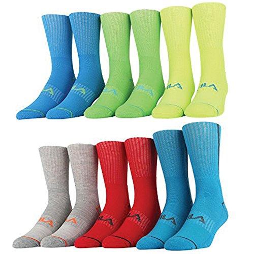 Fila Men's Socks Half Cushion Crew 6 Pack (Neon 3, 10/13) - Basketball Mens Socks