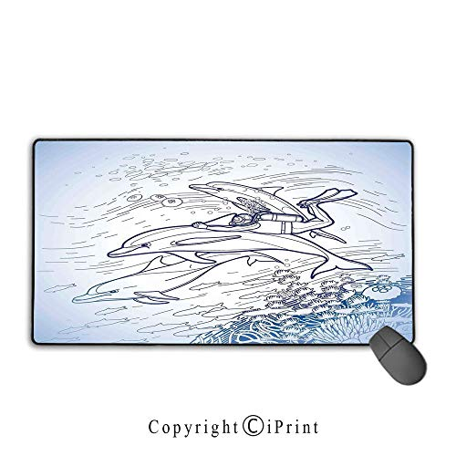 (Mouse pad with Lock,Sea Animals Decor,Sketch of Scuba Diver Holding Fin of Dolphin Over Coral Reefs Fish Underwater,Multi, Non-Slip Rubber Base,15.8