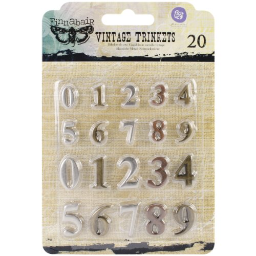 Prima Marketing Sunrise Sunset Mechanicals Metal Vintage Trinkets-Mini Numbers, 20/Pack