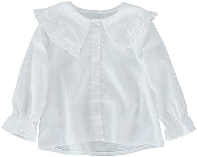 ZIHUOKIJ Niñas pequeñas Manga Larga Blusa Blanca Solapa de Volantes Botón Camisa Size 100(2-3 Años) (White): Amazon.es: Ropa y accesorios