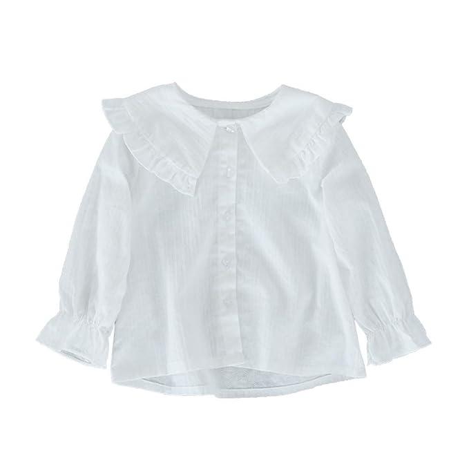 ZIHUOKIJ Niñas pequeñas Manga Larga Blusa Blanca Solapa de Volantes Botón Camisa: Amazon.es: Ropa y accesorios