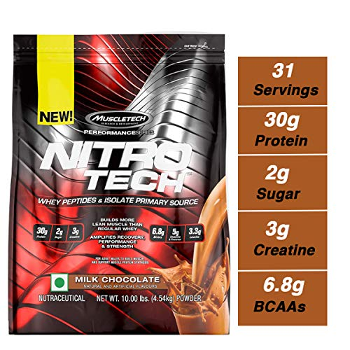 MuscleTech NitroTech Protein Powder Plus Muscle Builder, 100% Whey Protein with Whey Isolate, Milk Chocolate, 103 Servings (10lbs) ()