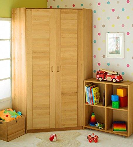 BioKinder 22829 Emil Eckkleiderschrank Kinder-Kleiderschrank aus Massivholz Erle 204 x 95 x 32 cm