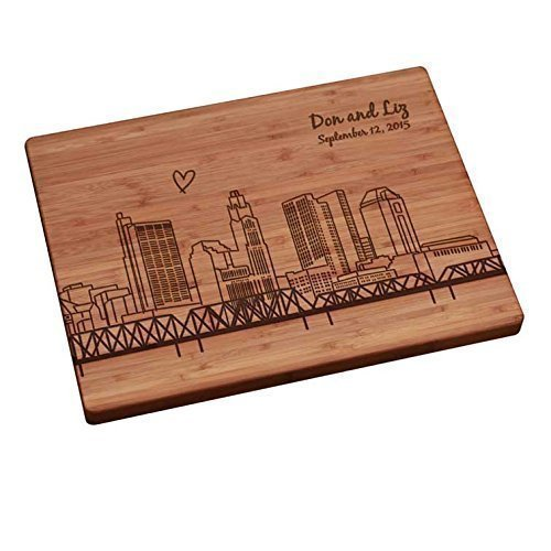 Personalized Cutting Board - Columbus Skyline