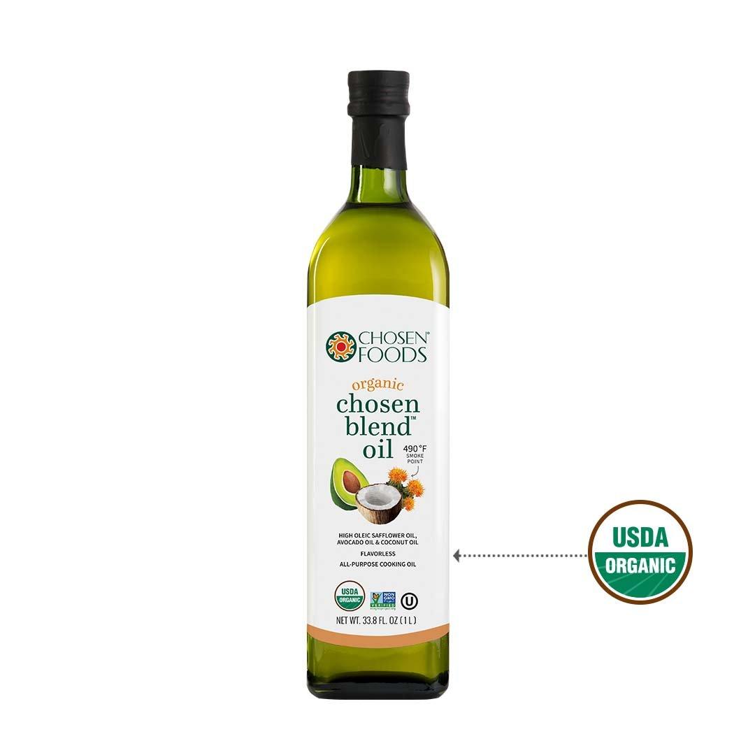 Chosen Foods Organic Chosen Blend Oil 1 L, Non-GMO for High-Heat Cooking, Baking, Frying, 490° F Smoke Point