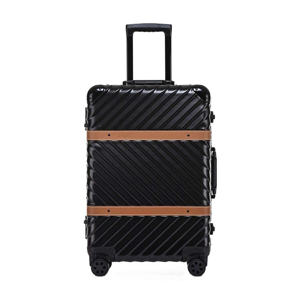 レトロアルミフレームビジネストロリーケース旅行パスワード搭乗マット表面ブレーキホイールキャビンスーツケース (色 : 黒, サイズ さいず : 29 inches) 29 inches 黒 B07MPNFSTS