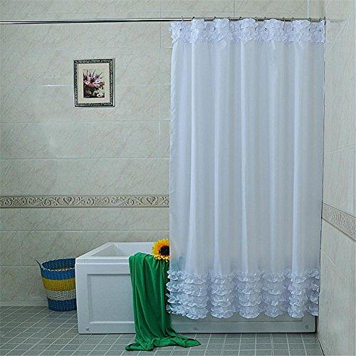 HomJo Cortina de ducha del cuarto de baño de la decoración del hogar Cortina sólida impermeable del cordón de la tela del...