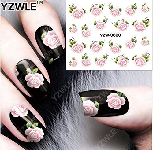 (Pink Rose Flowers Nail Art Stickers Water Transfer Decals Decorations)