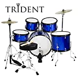Trident Junior 16'' Drum Set 5 PCS Complete Set Cymbals Drumsticks Pearl Blue